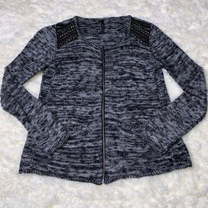 Maurices Zip Up Beaded Shoulder Cardigan